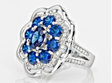 Blue And White Cubic Zirconia Rhodium Over Silver Ring 5.05ctw