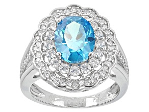 Blue And White Cubic Zirconia Rhodium Over Silver Ring 4.00ctw