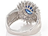 Blue And White Cubic Zirconia Rhodium Over Silver Ring 4.24ctw