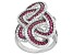 Red And White Cubic Zirconia Rhodium Over Silver Ring 2.45ctw