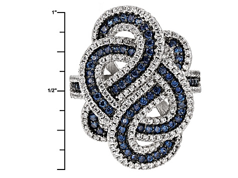 Blue And White Cubic Zirconia Rhodium Over Silver Ring 2.45ctw