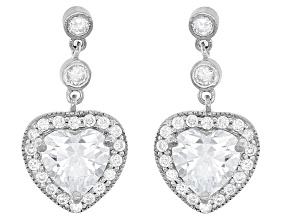 White Cubic Zirconia Rhodium Over Silver Heart Earrings 8.30ctw