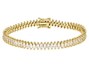 White Cubic Zirconia 18K Yellow Gold Over Silver Bracelet 16.30ctw