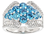 Blue And White Cubic Zirconia Rhodium Over Silver Ring 5.50ctw