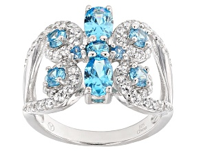 Blue And White Cubic Zirconia Rhodium Over Sterling Silver Ring 2.85ctw