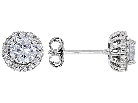 White Cubic Zirconia Rhodium Over Sterling Silver Earrings Set 1.90ctw