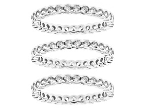 White Cubic Zirconia Rhodium Over Sterling Silver Rings 6.72ctw