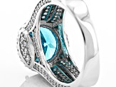 Blue And White Cubic Zirconia Rhodium Over Silver Ring 7.53ctw