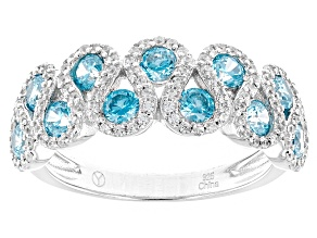 Blue And White Cubic Zirconia Rhodium Over Silver Ring 2.20ctw