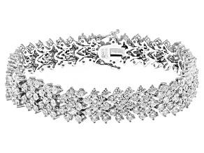 White Cubic Zirconia Rhodium Over Silver Bracelet 23.50ctw