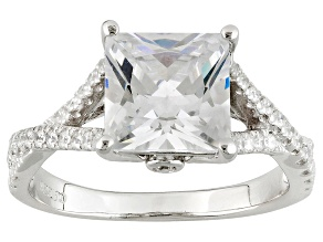 White Cubic Zirconia Rhodium Over Silver Ring 4.69ctw