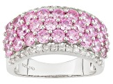 Pink And White Cubic Zirconia Rhodium Over Silver Ring 6.21ctw
