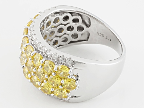 Yellow And White Cubic Zirconia Rhodium Over Silver Ring 6.21ctw