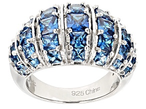 Blue Cubic Zirconia Rhodium Over Sterling Silver Ring 4.45ctw