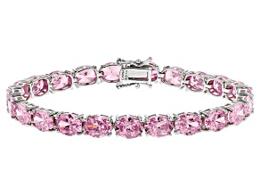 Pink Cubic Zirconia Rhodium Over Silver Bracelet 41.00ctw