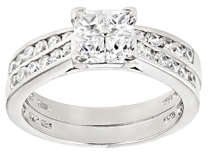 White Cubic Zirconia Rhodium Over Silver Ring With Band 2.00ctw
