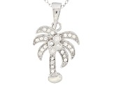 White Cubic Zirconia Rhodium Over Sterling Silver Pendant With Chain .10ctw