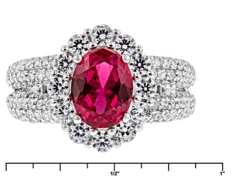 Red Synthetic Corundum And White Cubic Zirconia Rhodium Over Sterling Silver Ring 5.03ctw