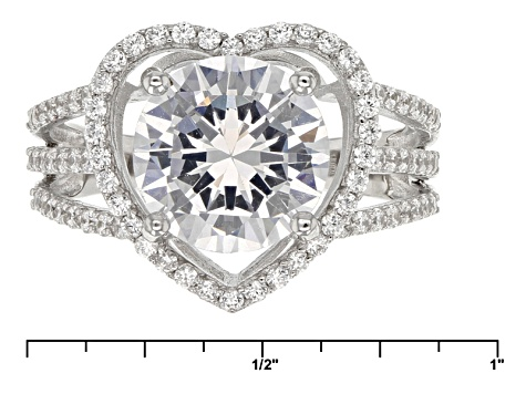 White Cubic Zirconia Rhodium Over Sterling Silver Heart Ring 7.25ctw
