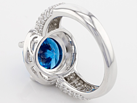 Blue And White Cubic Zirconia Rhodium Over Sterling Silver Ring 7.05ctw