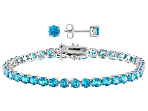 Blue Cubic Zirconia Rhodium Over Sterling Silver Bracelet And Earrings 17.25ctw
