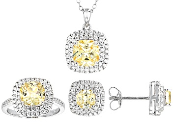 Picture of Yellow And White Cubic Zirconia Rhodium Over Sterling Silver Jewelry Set 11.10ctw