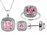 Pink And White Cubic Zirconia Rhodium Over Sterling Silver Jewelry Set 11.10ctw