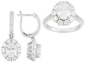 White Cubic Zirconia Rhodium Over Sterling Silver Earrings And Ring 11.50ctw