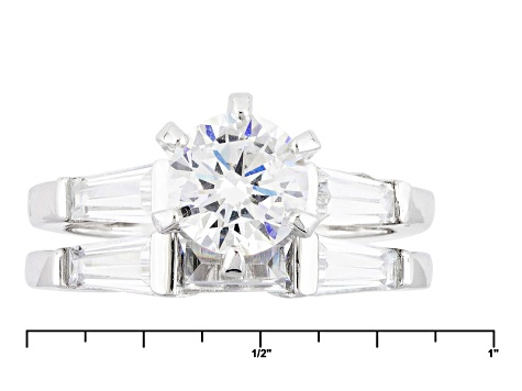 White Cubic Zirconia Rhodium Over Sterling Silver Ring With Band 1.98ctw