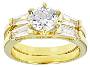 White Cubic Zirconia 18k Yellow Gold Over Sterling Silver Ring With Band 1.98ctw