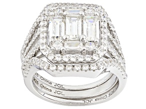 White Cubic Zirconia Rhodium Over Sterling Silver Ring With Bands 2.30ctw