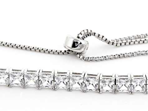 White Cubic Zirconia Rhodium Over Sterling Silver Adjustable Bracelet 13.86ctw