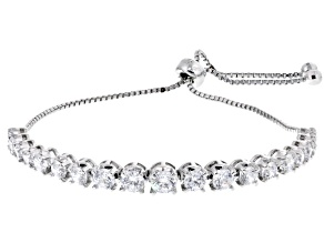 White Cubic Zirconia Rhodium Over Sterling Silver Adjustable Bracelet 8.13ctw