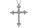 White Cubic Zirconia 10k White Gold Cross Pendant With Chain 1.25ctw