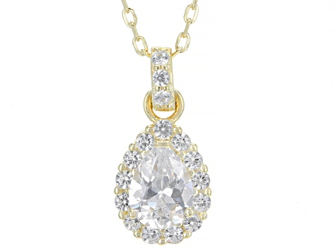 White Cubic Zirconia 18K Yellow Gold Over Sterling Silver Pendant With Chain 1.64ctw