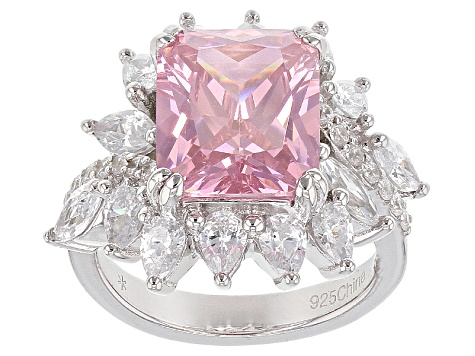 Pink And White Cubic Zirconia Rhodium Over Sterling Silver Ring 4.30ctw