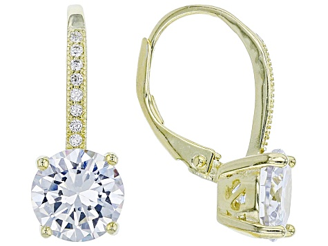 White Cubic Zirconia 18k Rose, Yellow Gold and Rhodium Over Sterling Silver Earrings 17.40ctw