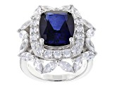 Blue And White Cubic Zirconia Rhodium Over Sterling Silver Ring 15.05ctw