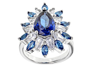 Blue And White Cubic Zirconia Rhodium Over Sterling Silver Ring 12.33ctw