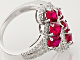 Synthetic Red Corundum & White Cubic Zirconia Rhodium Over Sterling Ring 3.40ctw