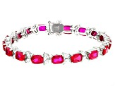 Red And White Cubic Zirconia Rhodium Over Sterling Silver Bracelet 24.36ctw