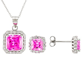 Pink And White Cubic Zirconia Rhodium Over Sterling Silver Jewelry Set 6.97ctw