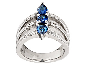 Blue And White Cubic Zirconia Rhodium Over Sterling Silver Heart Ring 2.20ctw