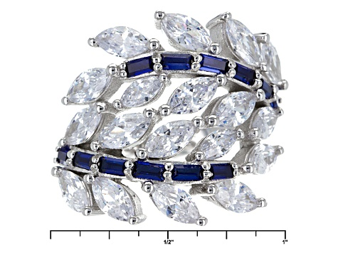 Blue And White Cubic Zirconia Rhodium Over Sterling Silver Ring 7.48ctw