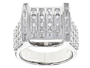 White Cubic Zirconia Rhodium Over Sterling Silver Gents Ring 6.61ctw