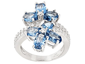 Blue Synthetic Spinel And White Cubic Zirconia Rhodium Over Sterling Silver Ring 3.86ctw