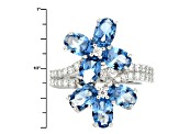 Lab Blue Spinel And White Cubic Zirconia Rhodium Over Sterling Silver Ring 3.86ctw