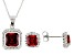 Red And White Cubic Zirconia Rhodium Over Sterling Silver Jewlery Set 6.97ctw