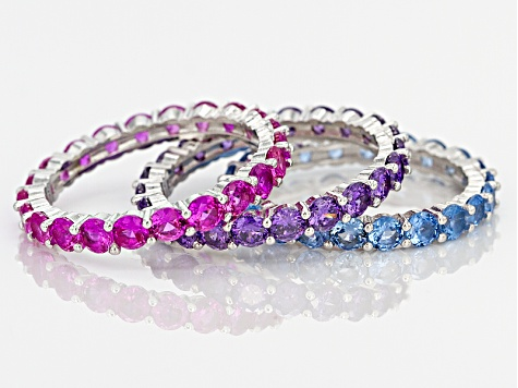 Lab Blue Spinel and Pink And Purple Cubic Zirconia Rhodium Over Sterling Rings 10.80ctw