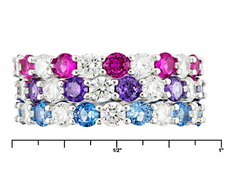 Blue Synthetic Spinel,Pink Synthetic Sapph,White/Purple Cz Rhodium Over Silver Rings 10.80ctw